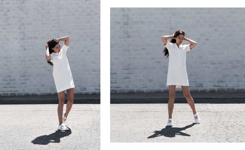 all white fabrizio gianni sheath dress
