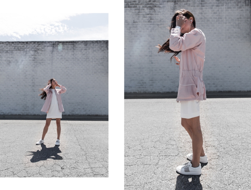 pastel pink normcore jacket and all white sheath dress