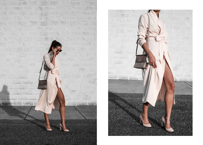 blogger in wrap dress