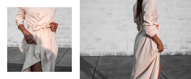blogger tying wrap dress