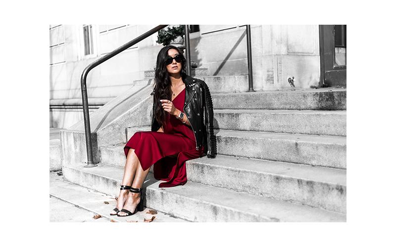 red minimal dress