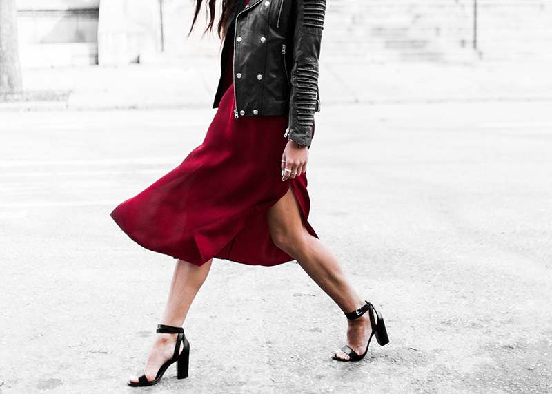 minimalist red silk skirt