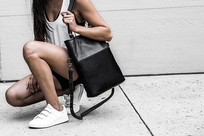 blogger's black leather tote