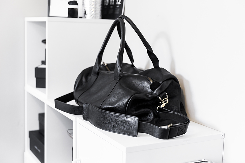 large black leather duffle bag