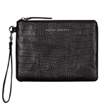 status anxiety black leather croc clutch