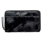 status anxiety black leather fur wallet