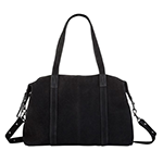 status anxiety black leather suede bag