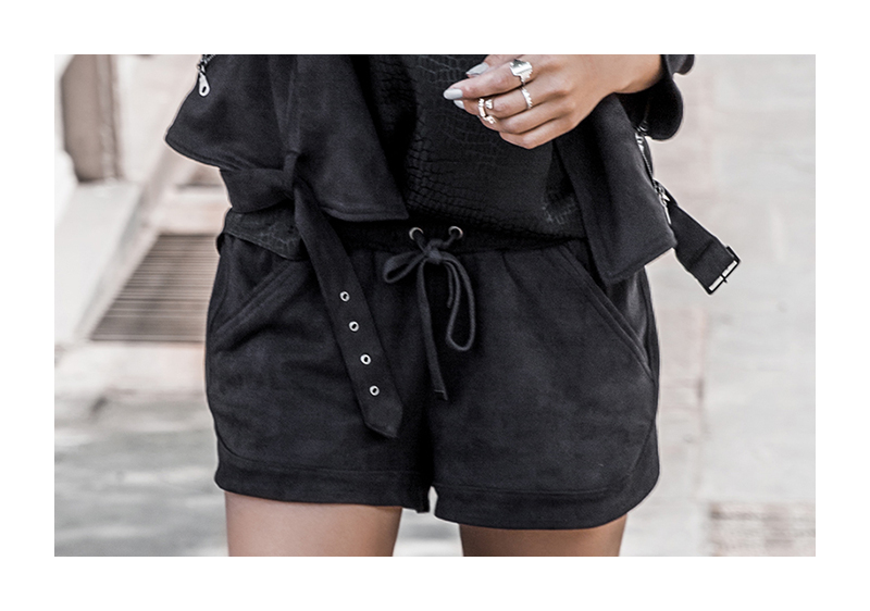 black microsuede shorts