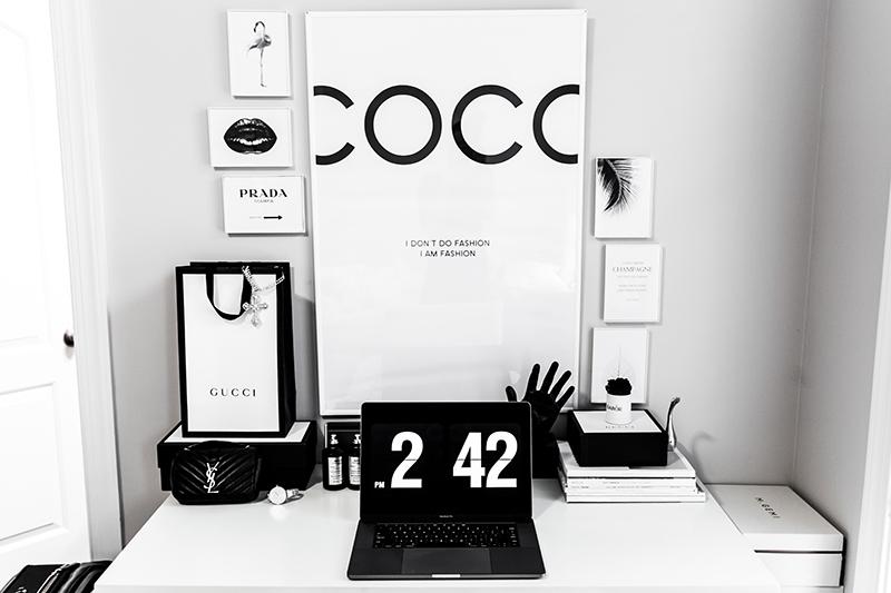 minimalist desk inspo with desenio posters