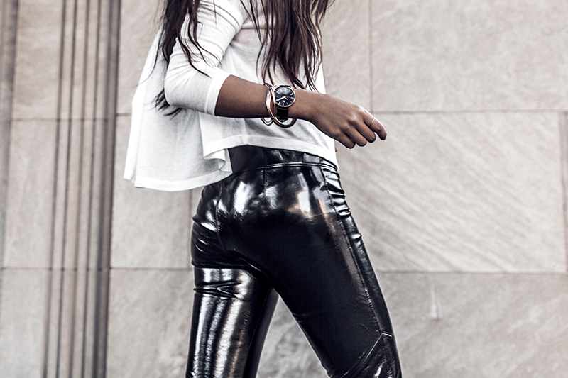 blogger wearing vinyl pants