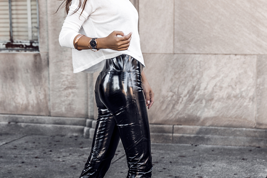 how to wear vinyl pants