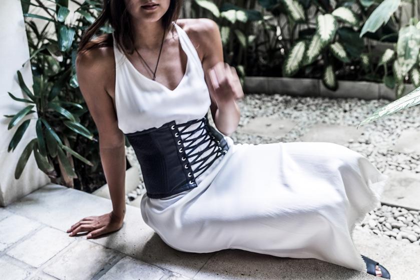 mcq black leather corset