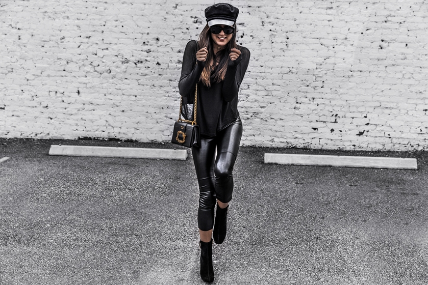 luxury fashion blogger day in my dreams wears leather leggings