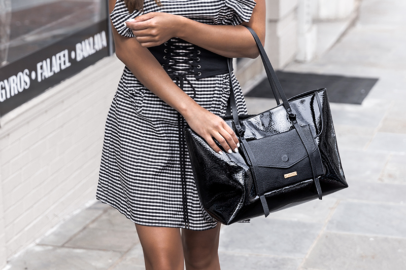 gingham dress and corset belt