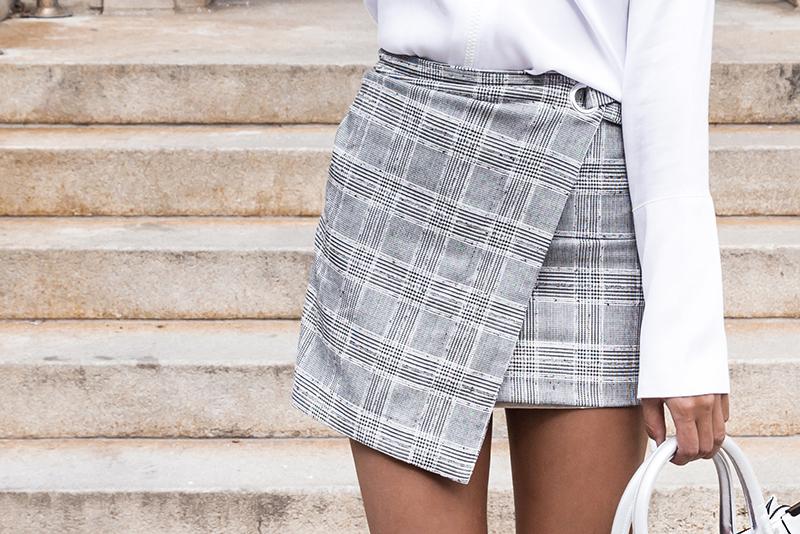 plaid wrap skirt hm style
