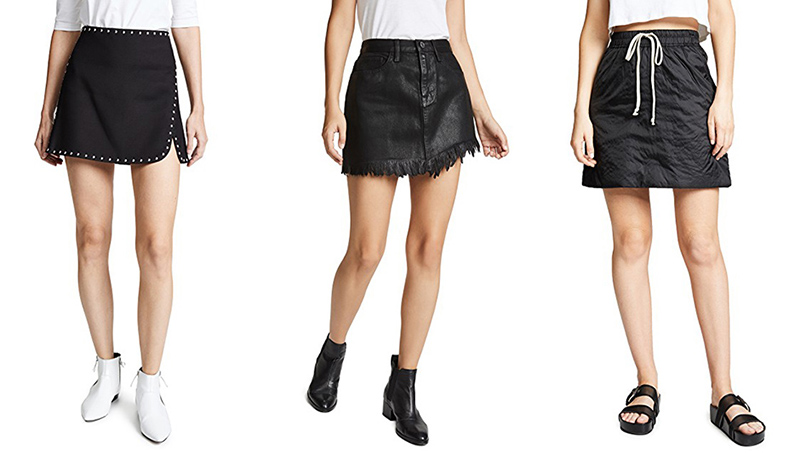 different styles of black mini skirts - chic, western and sporty