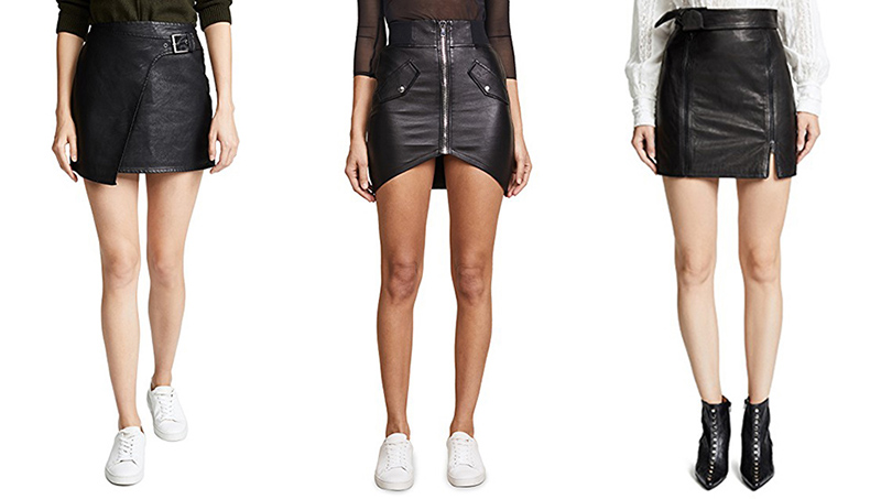 black leather mini skirts