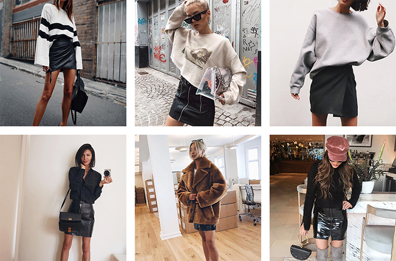 luxury fashion bloggers wear black mini skirts