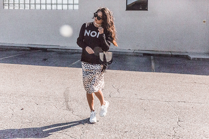 leopard print and sweatshirt athleisure casual style