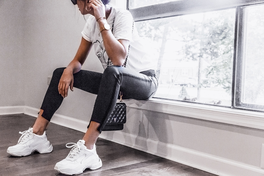 chunky sneaker style with casual basic jeans