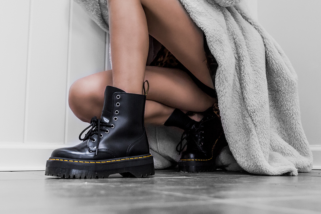 dr. marten combat boots and teddy coat