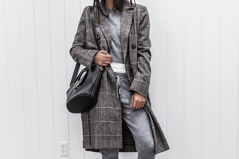 cashmere joggers and sweatsuit with plaid jacket