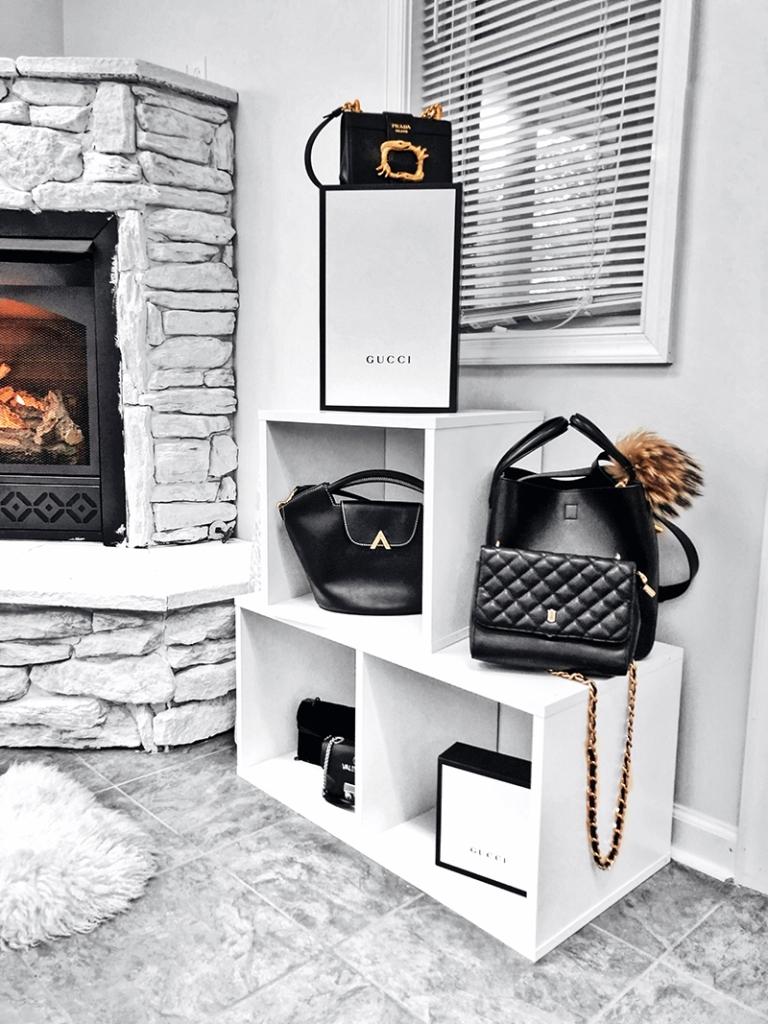 capsule wardrobe luxury handbag collection in minimalist style