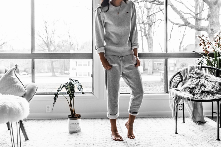 champion sweatpants and sweatshirt outfit casual style and minimal interior