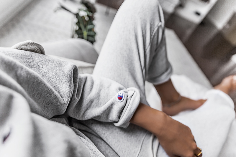 champion sweatpants and sweatshirt outfit relaxed casual style
