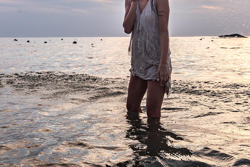 wet silk dress in the sea