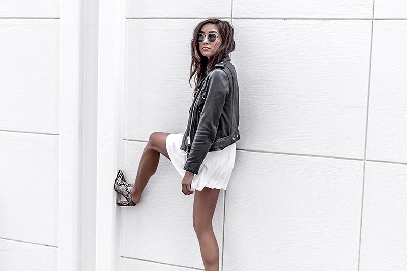fashion blogger wears luxury all saints jacket and jo mercer mules