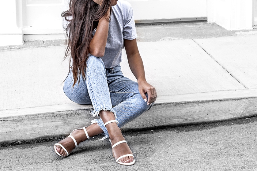 fashion blogger wears heeled sandals and blue levi jeans