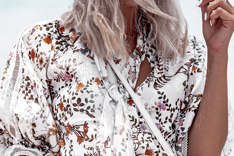 anne fontaine blouse in luxury floral print
