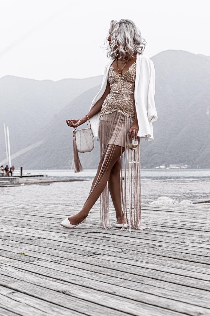 luxury fashion blogger in elliatt dress