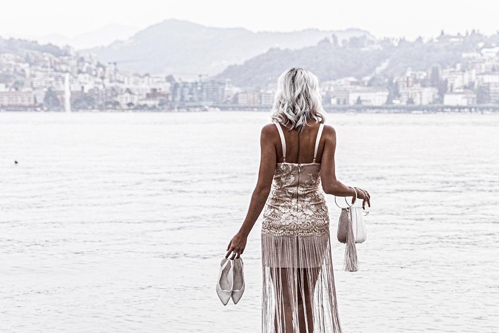 luxury fashion blogger overlooking lake lugano switzerland