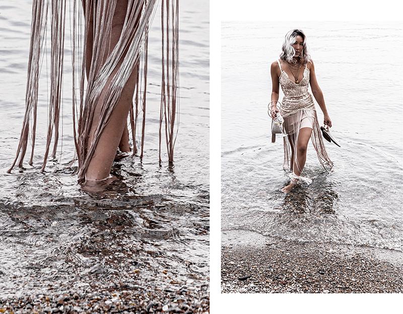 luxury fashion fringe elliatt dress in the water