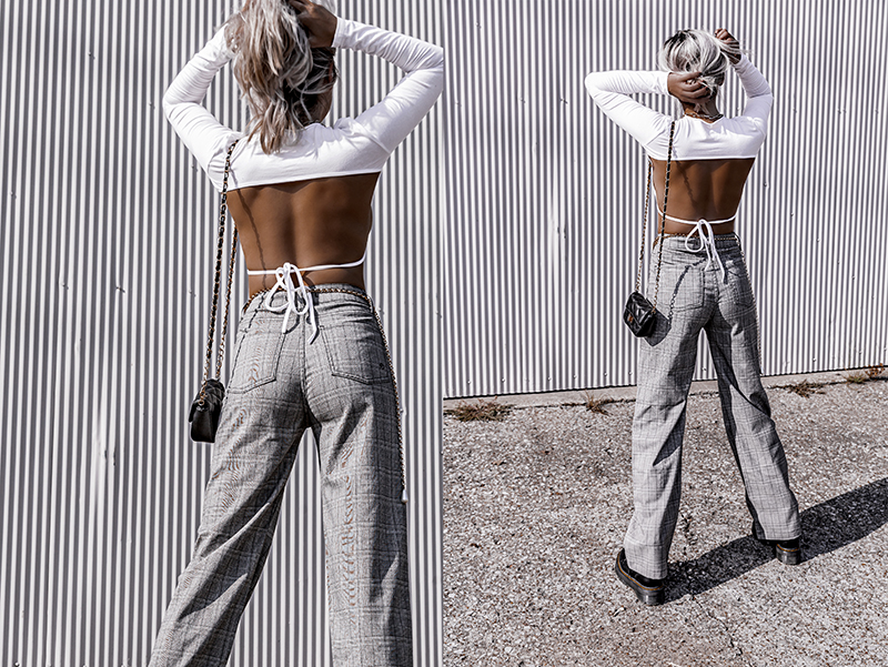 plaid pants and backless top