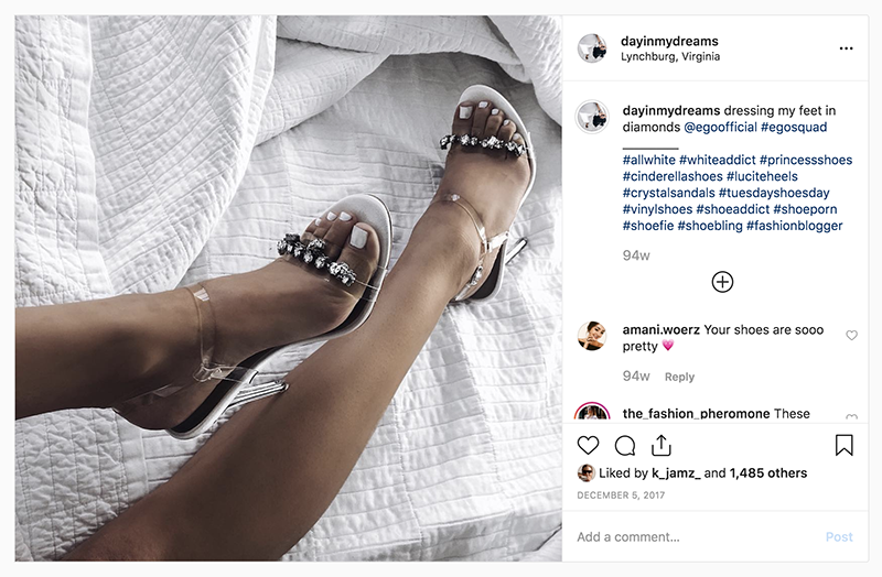 instagram feature of perspex shoes