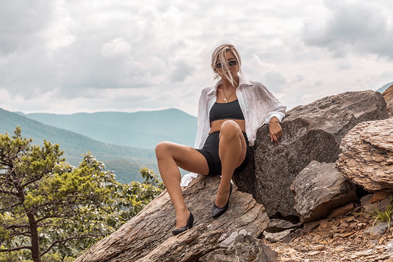 hiking in black biker shorts