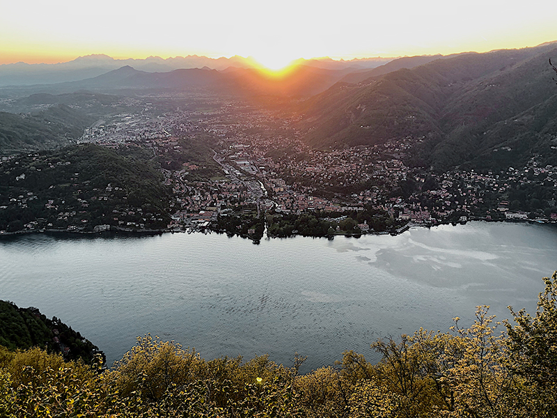lake lugano at sunset