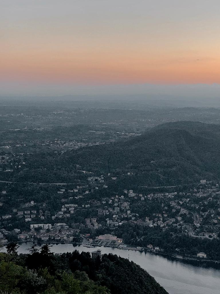 city of lugano at dusk