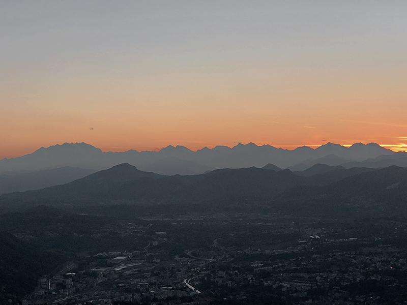 lake lugano mountains at sunset