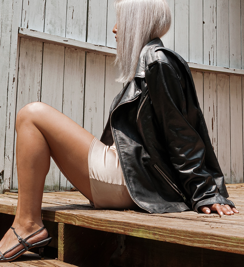 side profile leather jacket