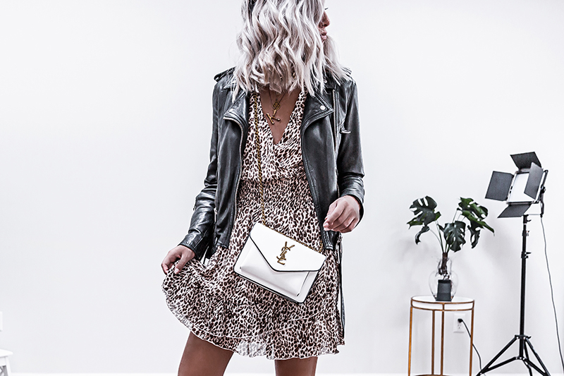 leopard print dress with all saints biker jacket