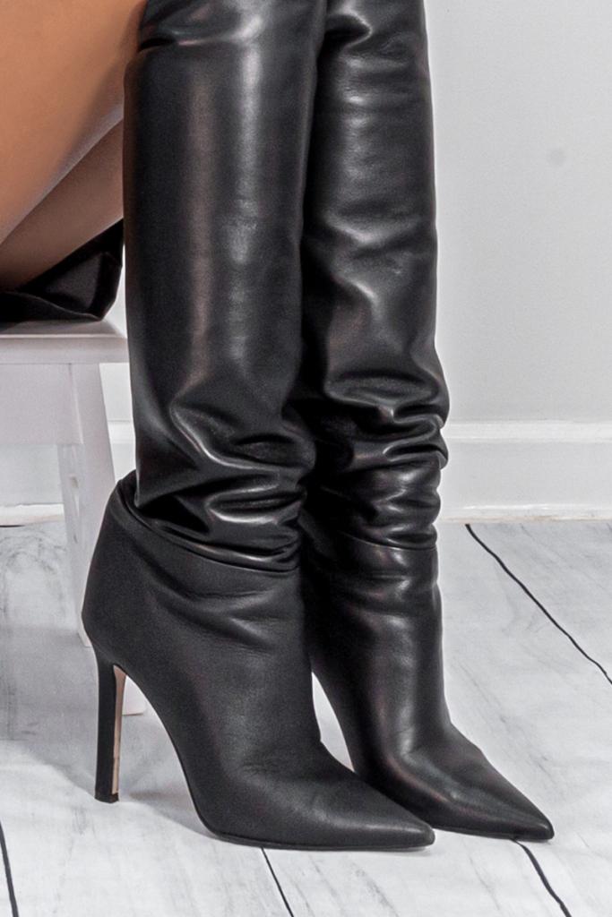 tamara mellon boot leather closeup