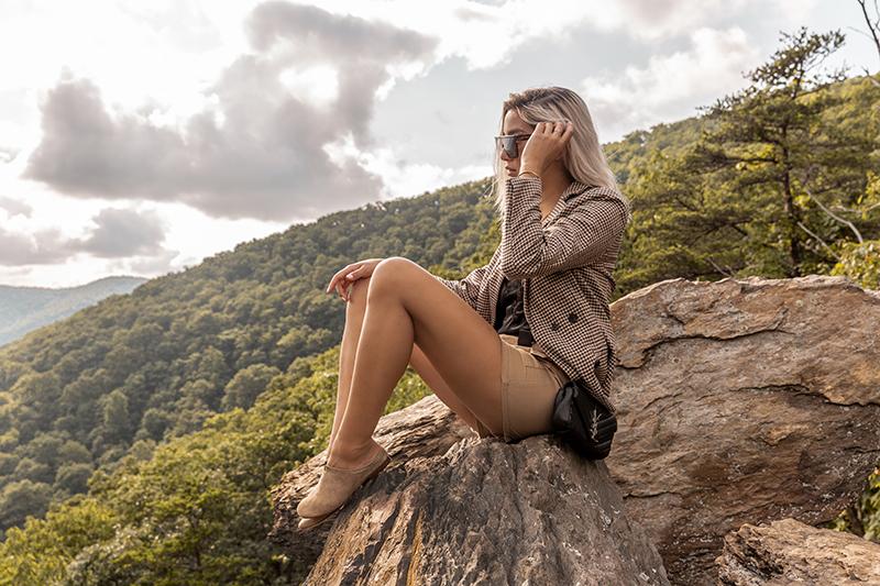 luxury fashion blogger in virginia mountains