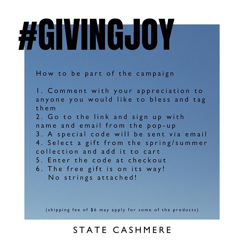 #givingjoy free cashmere giveaway from state cashmere rules and details