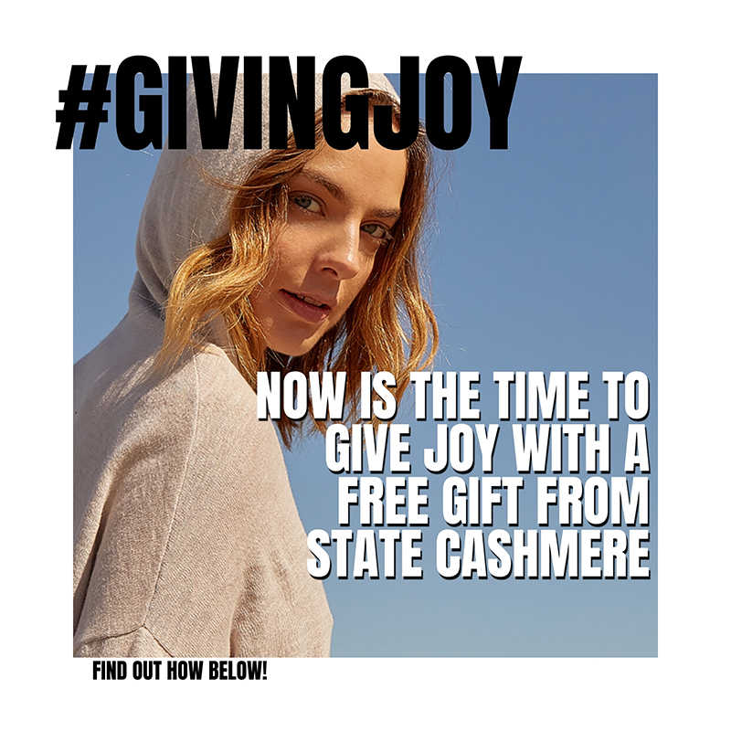 #givingjoy free cashmere giveaway from state cashmere campaign