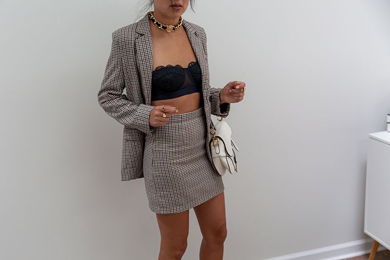 lively bra with plaid skirt