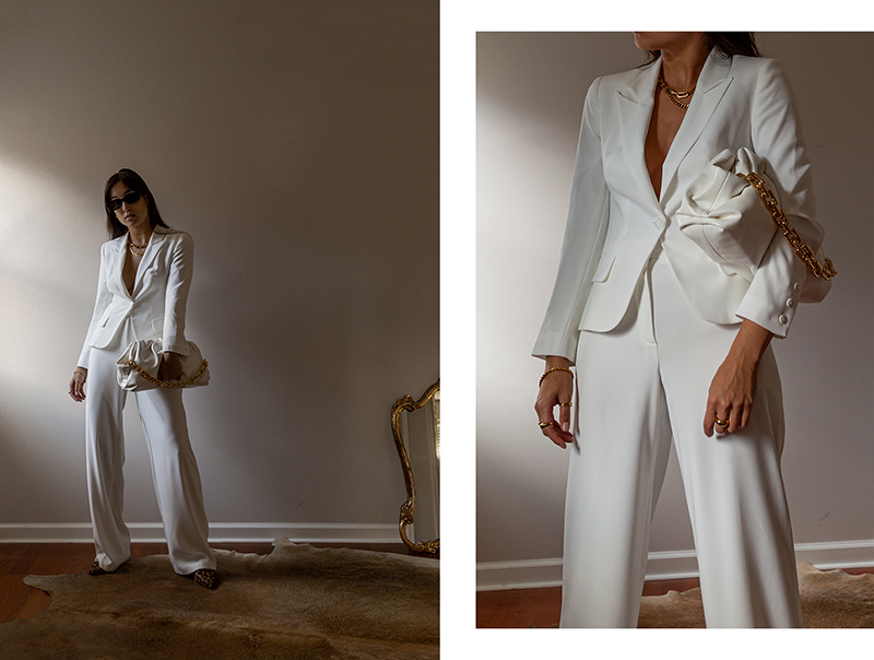 wide leg suit set white
